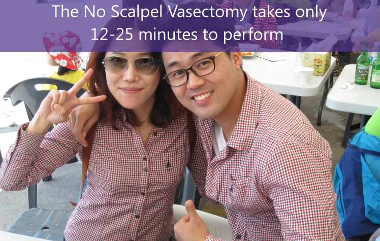 The No Scalpel Vasectomy takes 15-20 minutes to perform.